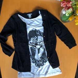 (2) S black H&M sweater & Hepburn graphic tank